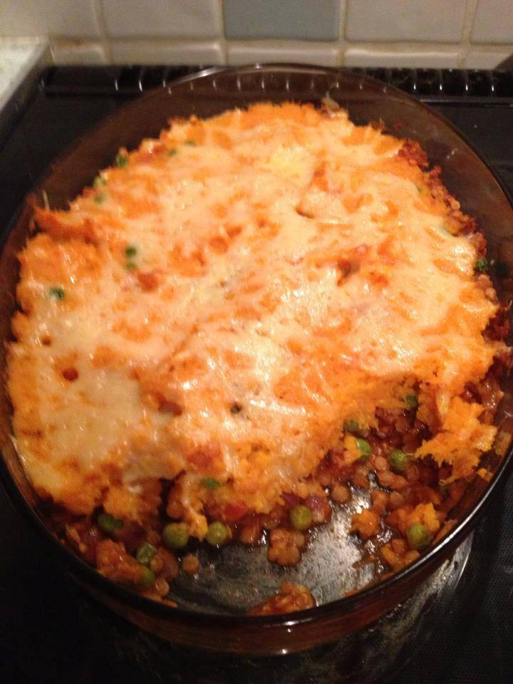 Lentil Cottage Pie With Sweet Potato Mash.