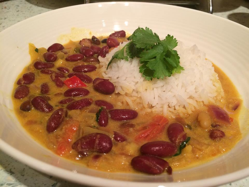 Maharagwe or red beans in coconut sauce.